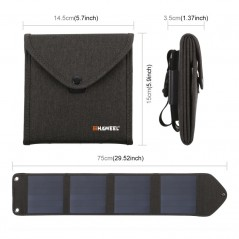 HAWEEL 14W Portable Foldable Solar Charger with 4 solar panels Size S